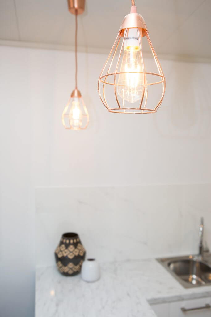 Copper pendant lights adding extra style